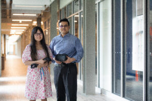Dr. Sharif Mohammad Shahnewaz Ferdous and student, Kyla Ramos in STEM Building (Photo/ Aaron Wilson Watson)